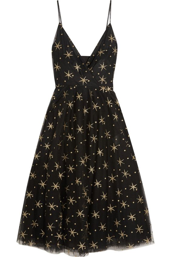 VALENTINO Glittered embroidered tulle midi dress Black tulle  Concealed hook and zip fastening at side  100% polyamide; lining1: 100% viscose; lining2: 91% silk, 9% elastane  Dry clean  Made in Italy