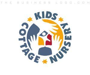 KIDS COTTAGE NURSERY: Customized children, #daycare, #childcare, baby & kids #businesslogo design samples. Created by http://www.TheBusinessLogo.com  #BrandIdentityDesign #CorporateDesign #LogoDesign #FreeBusinessLogo