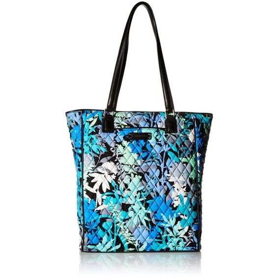 Vera Bradley North South Signature Tote Sling Bag ($78) ❤ liked on Polyvore featuring bags, handbags, tote bags, handbags tote bags, white purse, tote handbags, tote purse and white handbags