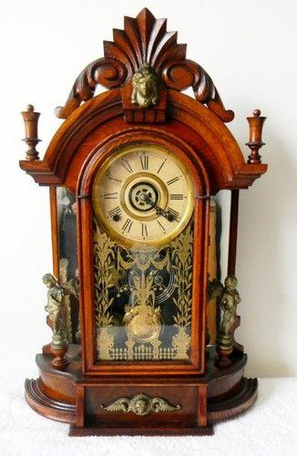 Ansonia or Gilbert Shelf or Mantle Clock Victorian Wood Case Alarm Setting | eBay
