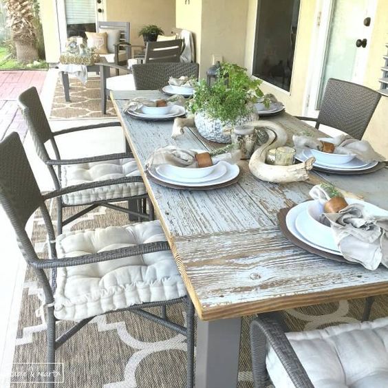 DIY Farmhouse Dining Table With Reclaimed Wood Wood Tables Rustic Patio An