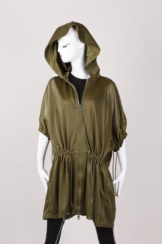 New With Tags Green Mesh Jersey Short Sleeve Hooded Jacket