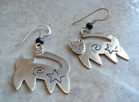 Kitty Cat Whimsical French Hook Earrings Sterling by cutterstone, $36.00