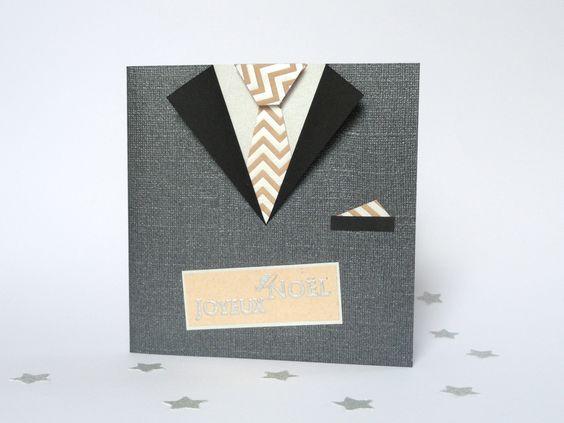 Carte Joyeux Noël costume noir et argent pour homme fait main : Cartes par fairepartfaitmain