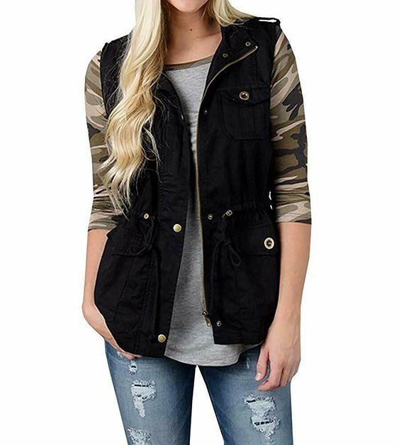 AFKOXKi Women Sleeveless Lightweight Vest Jacket Plain Color Military Jacket Vest with Drawstring /& Pockets