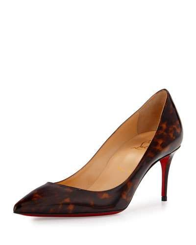 christian louboutin spiked shoes for men - X34S0 Christian Louboutin Decollette Tortoiseshell Red Sole Pump ...