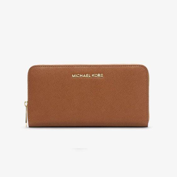 MICHAEL Michael Kors Jet Set Travel Saffiano Leather Continental Wallet Brown