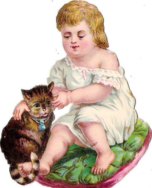 Oblaten Glanzbild scrap diecut chromo Kind child baby girl Katze cat chat: