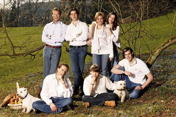 Luxembourg Grand Ducal Family- Grand Duke Henri, Prince Guillaume, Grand Duchess Maria-Teresa, Princess Alexandra; seated-Prince Louis, Prince Sebastien and Prince Felix