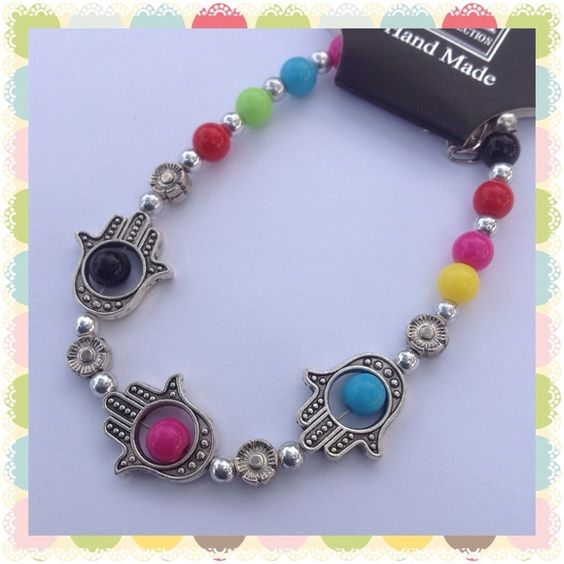 10 Items 50% Off Colorful Hamsa Bracelet Silver tone colorful to brighten up any outfit with extension. New! Jewelry Bracelets