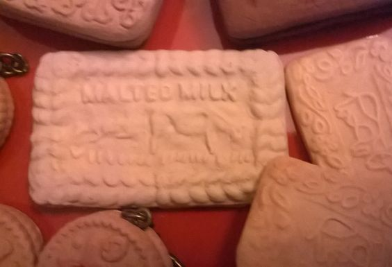 Malted milk biscuit made in fimo. Handmade by Sheila Atkinson 2014