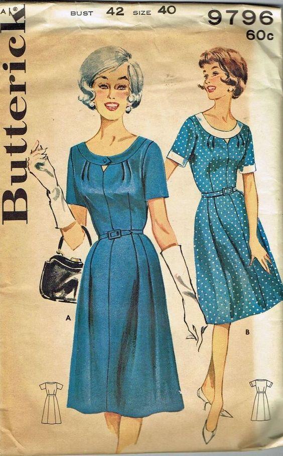 """Vintage Pattern  Shallow Neck Dress Butterick 9796 Larger Size 40/42"""" Uncut"""