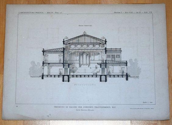 1894 BAUZEICHNUNG FASSADE Konzert-Halle Architektur von Daniele Donghi