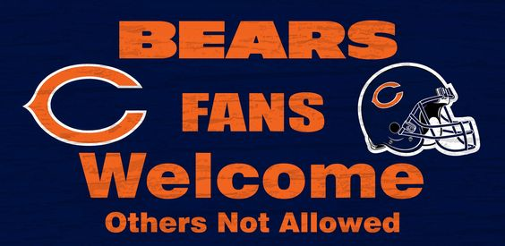 """Chicago Bears Wood Sign - Fans Welcome 12""""x6"""""""