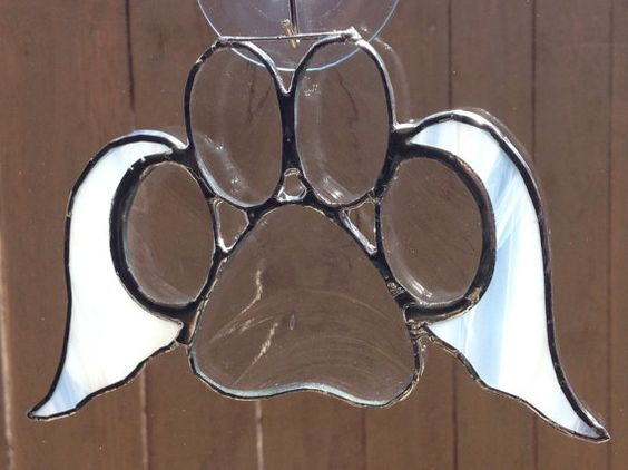 Clear Stained Glass Paw Print With Angel by langanfamilyfinds