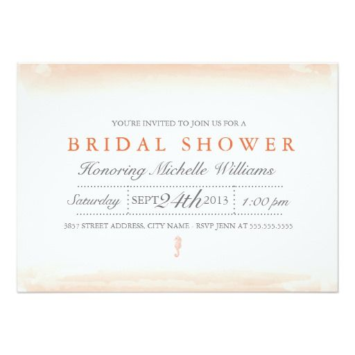 Seaside Coral Bridal Shower Invitation
