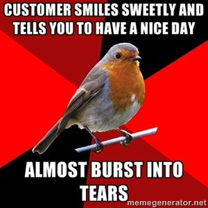 Customer smiles sweetly and tells you to have a nice day almost burst into tears | Retail Robin | Meme Generator: