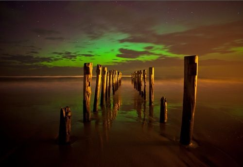Southern lights as seen from St Clair in Dunedin.