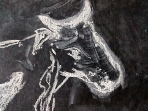 Cabeza de vaca, dibujo con tiza.
