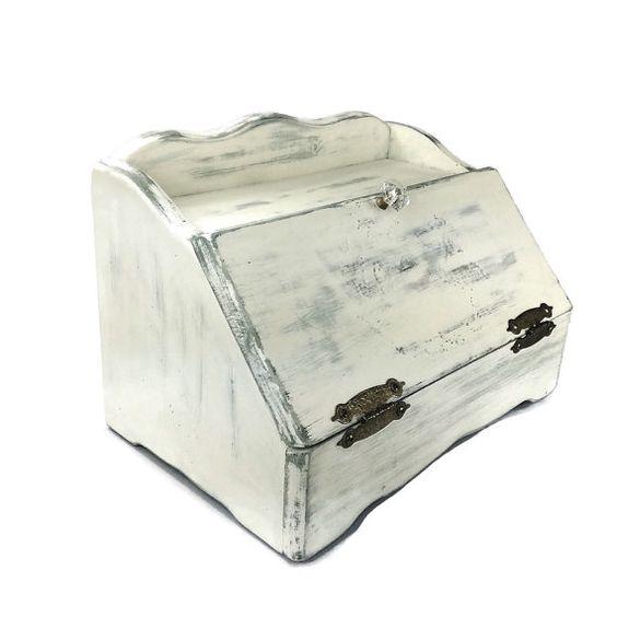 BEAUTIFUL BREAD BOX, Wooden Bread Box, Cottage Chic Kitchen, White Bread Box…
