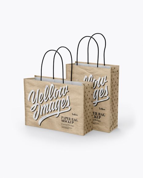 Download Two Kraft Paper Bags Mockup Half Side View In Bag Sack Mockups On Yellow Images Object Mockups Mockup Psd Mockup Free Psd Bag Mockup