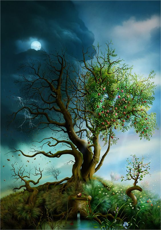 SciFi and Fantasy Art Garden of Apples by J E. Shannon