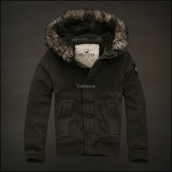 RARE Olive) Hollister by Abercrombie Mens Jacket Fur Faux Sherpa ...