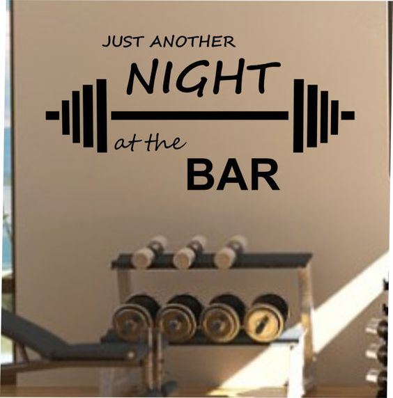 Gym Commercial Bar Design: Just Another Night At The BAR Fitness Wall Decal Vinyl