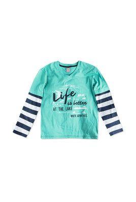 Camiseta Infantil Menino Com Mangas Listradas