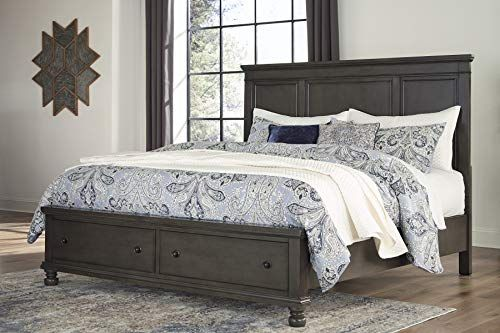 Furnituremaxx Imatra Antiqued Gray Finish Storage King Bed