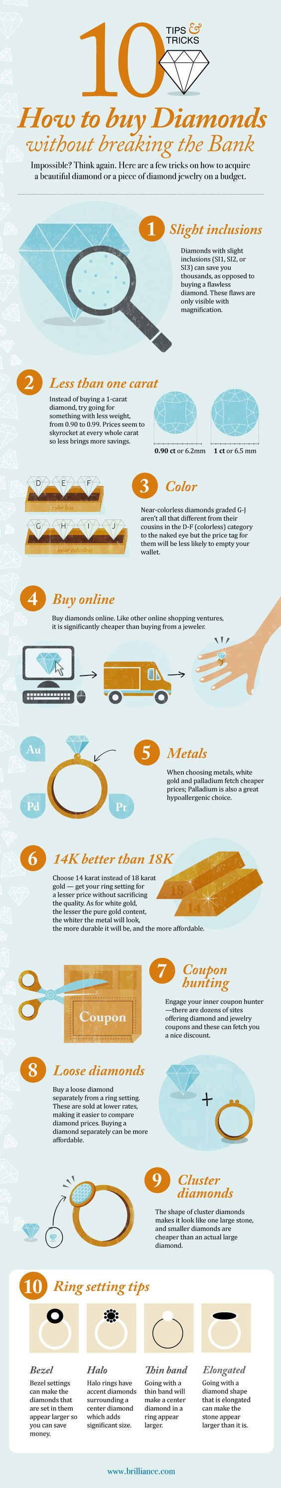 Thanks so much to Brilliance.com for sharing this fantastic diamond buying infographic with us! You can watch our diamond buying guide video for more tips on how to get the best diamond on a budget, and check back every Friday this month for more diamond buying tips during April's Diamond Month celebration at Raymond Lee Jewelers.