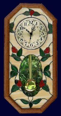 rosebud vines pendulum clock See more at:  AGlassMenagerie.net/clocks.html