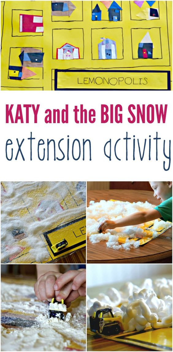 What a fun way to explore Katy and the Big Snow. Sensory play for kids with a literary twist.