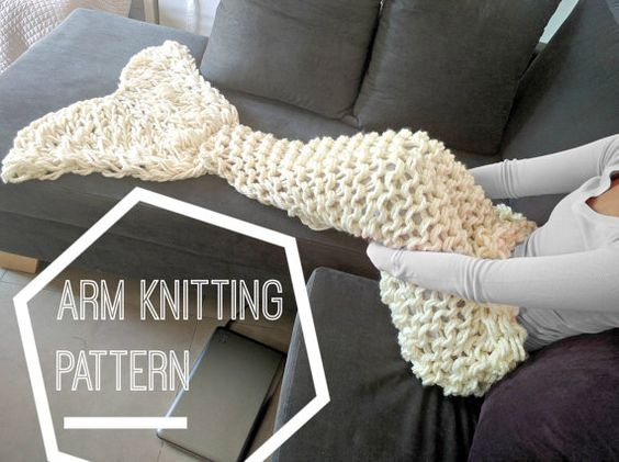 Knitting With Your Arms Instructions : Brazo del knit patr�n de manta la cola sirena