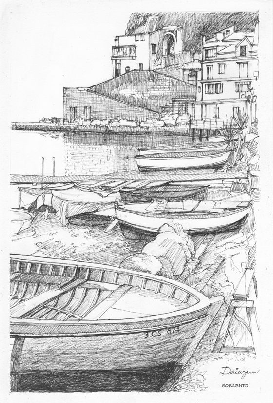 Authentic Italian Harbour Art Sketch Drawing Pencil Landscape Pencil Drawings Beach Drawing Boat Drawing