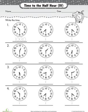 Telling Time Worksheets - O&#39clock and Half past