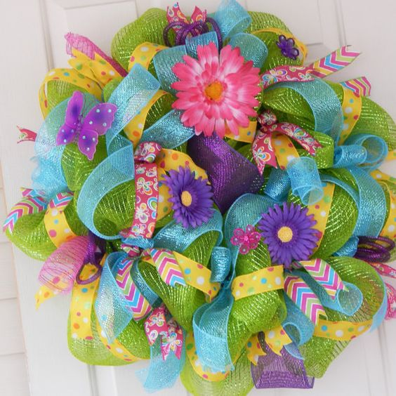Hey, I found this really awesome Etsy listing at https://www.etsy.com/listing/181130498/spring-summer-deco-mesh-wreath-easter