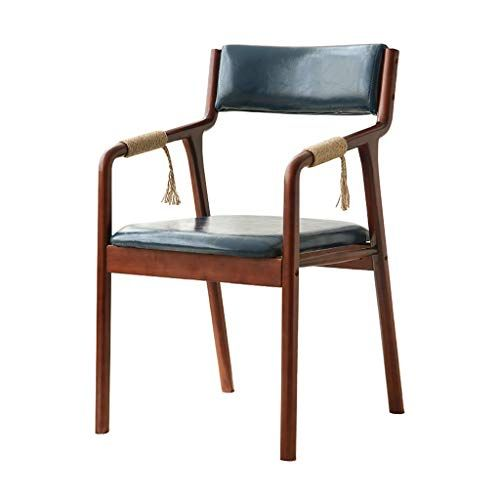 Wooden Dining Chairs Retro Handrail Backrest Upholstered Oil Wax Leather Waterproof C Faux Leather Dining Chairs Solid Wood Dining Chairs Leather Dining Chairs