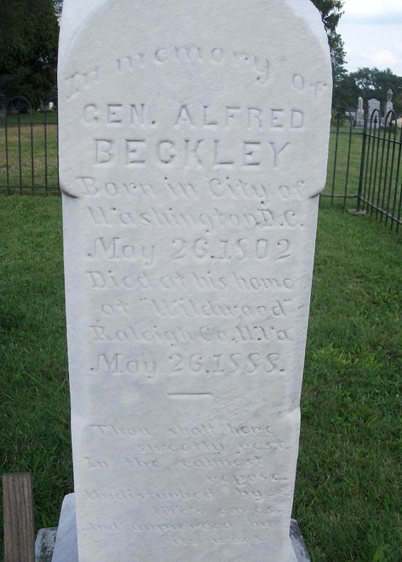 Alfred Beckley - founder of Beckley, West Virginia, and a Brigadier General in the Virginia militia during the American Civil War. He named the city of Beckley in honor of his father, John James Beckley, who was the first librarian of the United States Congress.