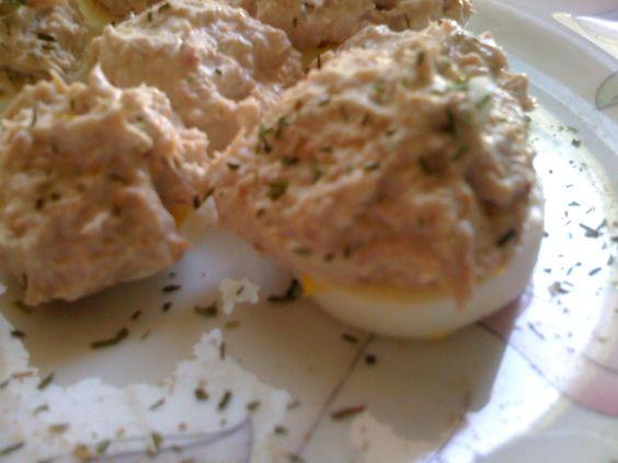 Barchette di uovo sodo con tonno al profumo di zenzero ricetta dieta Dukan