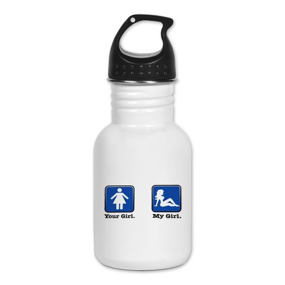 Kid's Water Bottle Your Girl My Girl. Made of 18/8, food-grade stainless steel, No lining & no BPA or other toxins. Wide mouth for easy drinking - Durable, BPA-free & phalate-free screw-on top. Holds 0.35L (nearly 12 ounces), Thin profile to fit most cup holders & bike bottle holders.