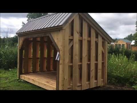 Order This Traditional 20 X 8 Ft Post Beam Saltbox Style Shed From Jamaica Cottage Shop 960 Cubic Ft Of Usable Space H Firewood Shed Shed Wood Shed Kits
