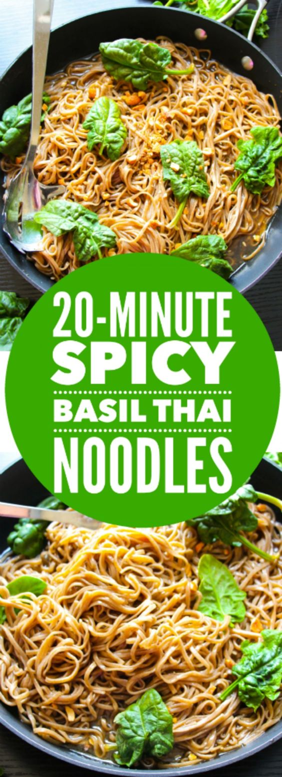 A super quick and simple Thai-inspired noodles on your table in 20 minutes! Perfect for a weeknight dinner! Add some grilled chicken for extra protein!