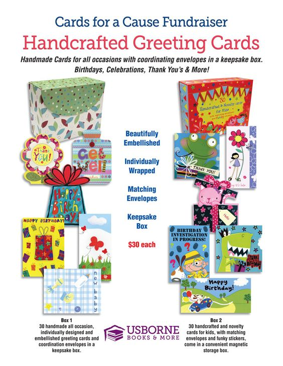 Cards for a Cause Fundraisers offer boxed sets of 30 beautifully embellished cards with matching envelopes.