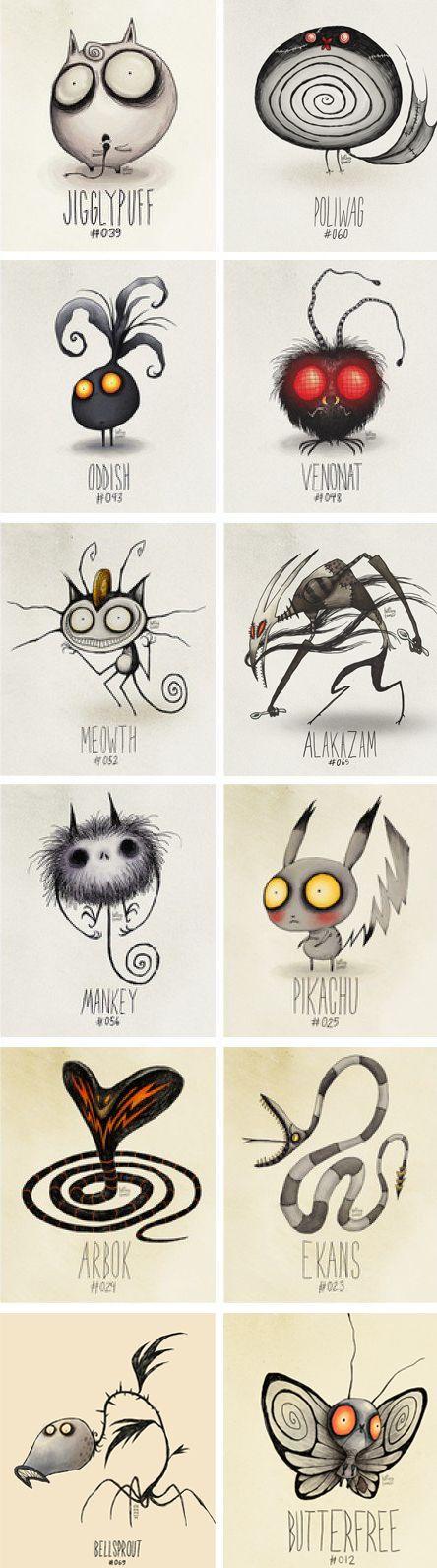 Tim Burton-esque Pokemon. *http://www.pinterest.com/idahay/character-design/