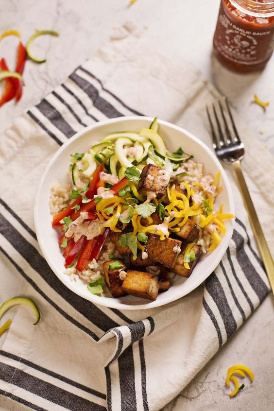 Spicy Brown Rice Bowls | A Beautiful Mess | Bloglovin'
