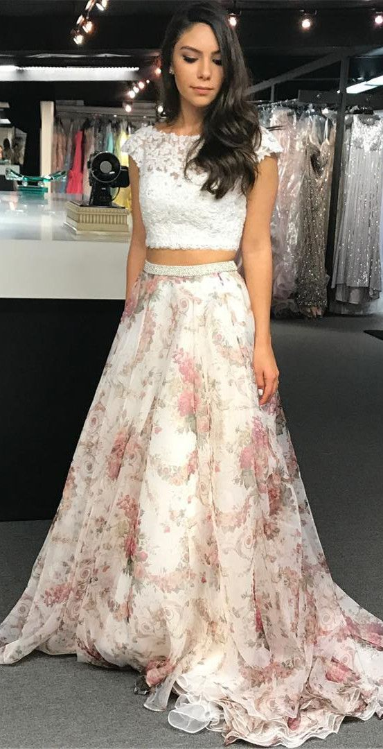 Unique Two Piece White Lace And Floral Print Long Party Dress Promdress 2018promdress Twopiecepromd Piece Prom Dress Prom Dresses Two Piece Party Dress Long