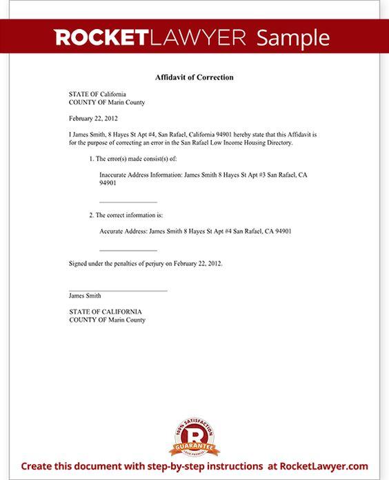 Affidavit of Correction Form - Correction Affidavit Sample - affidavit template word