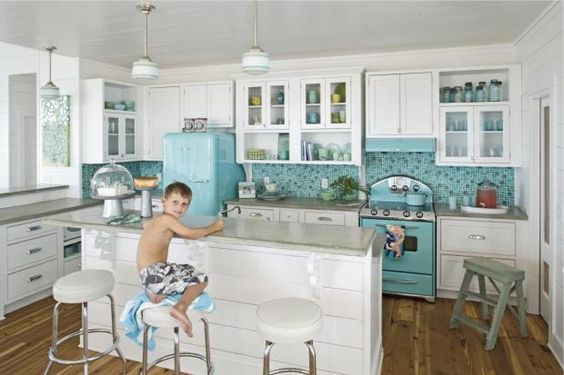 Is this not the PERFECT kitchen for a house at the beach?!!  Eclectic Island Style Teal kitchen, white cabinets, JANE COSLICK DESIGNS AND RESTORATIONS,