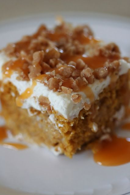 Pumpkin Poke Cake made with yellow cake mix,  canned pumpkin, condensed milk